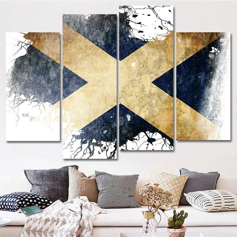 4 Panels Flag Of Scotland In White And Blue Wall Art Painting Pictures Print On Canvas Art The Picture For Home Modern Decor
