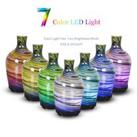 100ml Glass Humidifier Aromatherapy Oil Diffuser Cool Mist with Iridescent Lights Essential Oil Diffuser Waterless Auto Shut off