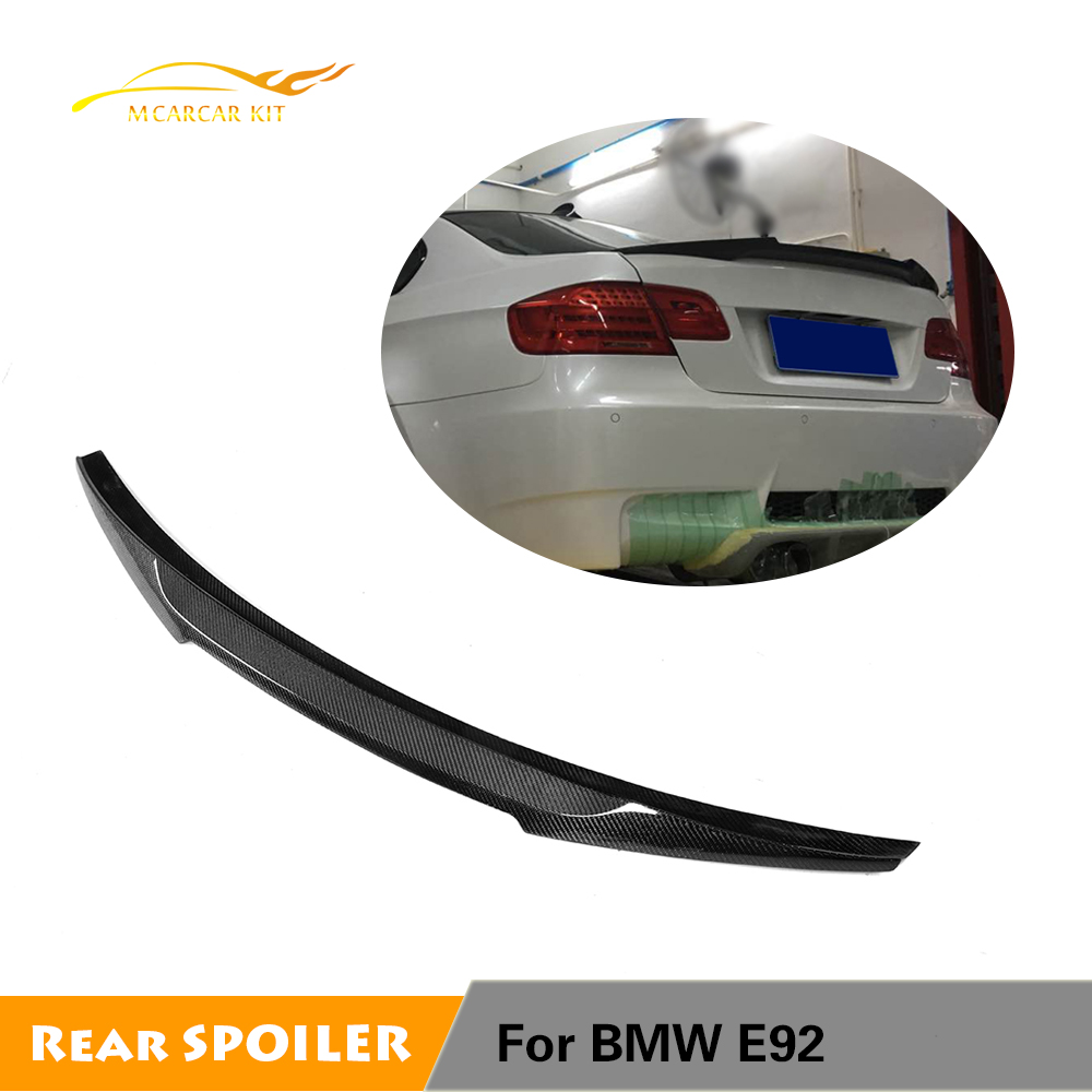 For BMW E92 Base Coupe M tech M3 2006 - 2012 M4 Style Carbon Fiber Rear Trunk Spoiler E92 M3 Wing Boot LipFor BMW E92 Base Coupe M tech M3 2006 - 2012 M4 Style Carbon Fiber Rear Trunk Spoiler E92 M3 Wing Boot Lip
