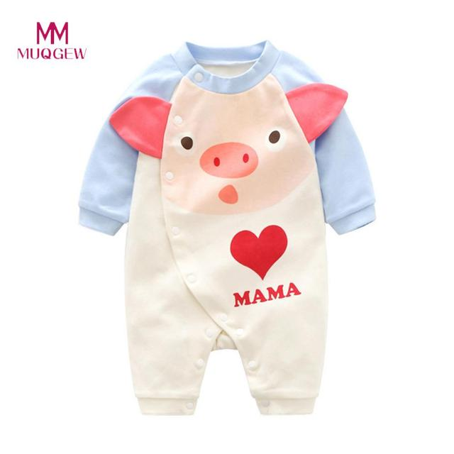 Girls Clothing Set Baby Girls Long Sleeve Cartoon Pig Head Love Print Romper Jumpsuit Outfits Cotton Soft Cute Kids Clothes
