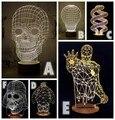 1 Piece 3D Crânio Madeira Baymax Bulbificação Luz USB Lâmpada de Mesa Lâmpada de Humor Darth Vader Bumblebee Jesus Ironman Spiderman Tellurion