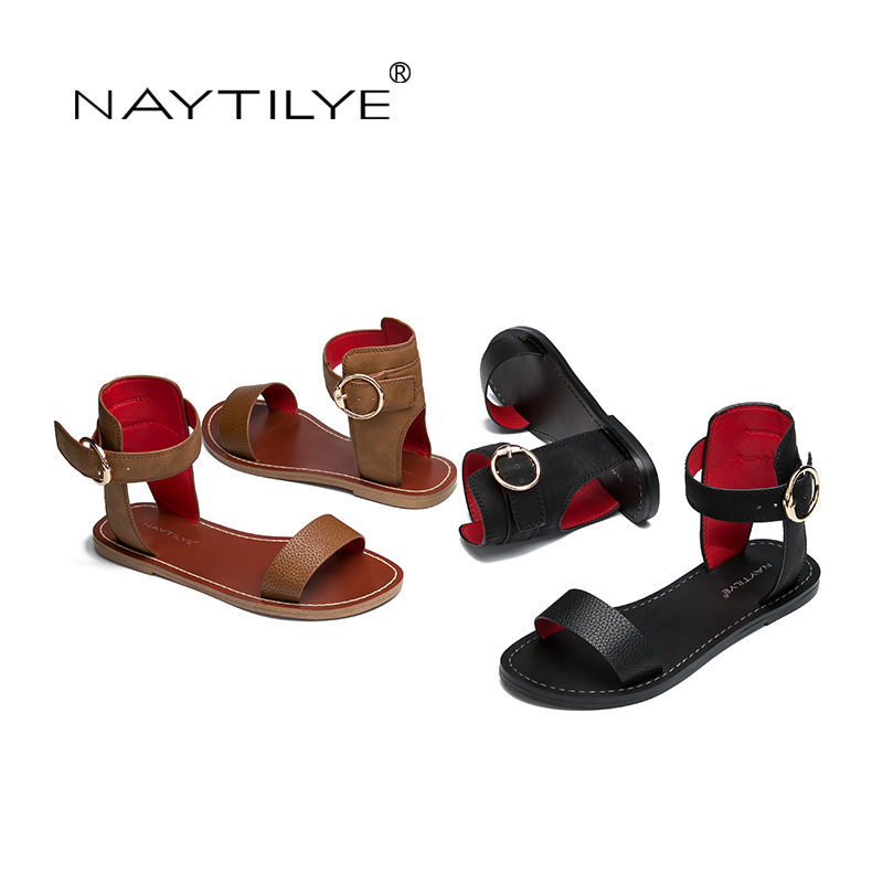 c9134dd5b96f Woman non leather casual shoe Ankle Wrap flats sandals PU ECO Leather High  quality 36 41 Free shipping NAYTILYE -in Women s Sandals from Shoes on ...