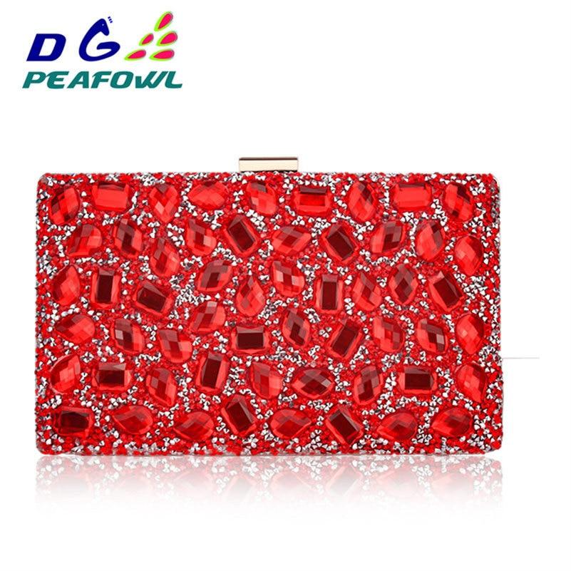 Kristal Asılı Tualet Çantası Qadın Klaç Qızıl Dartıcı - Çantalar - Fotoqrafiya 4