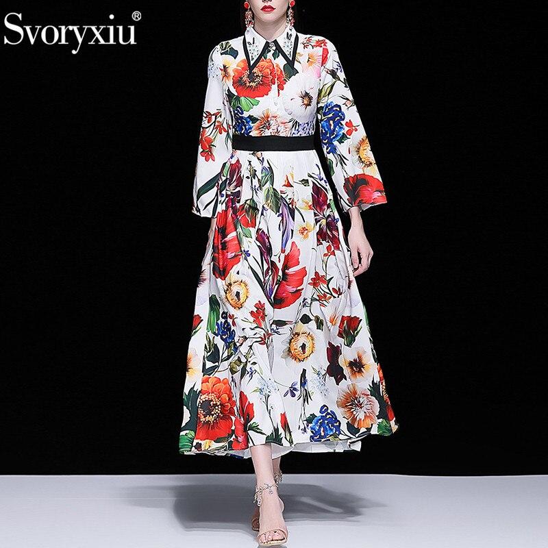 Svoryxiu รันเวย์ Elegant ฤดูใบไม้ร่วงฤดูหนาว Maxi ชุดยาวผู้หญิง Charming บิ๊กดอกไม้พิมพ์พรรค Vintage จีบชุด-ใน ชุดเดรส จาก เสื้อผ้าสตรี บน   1