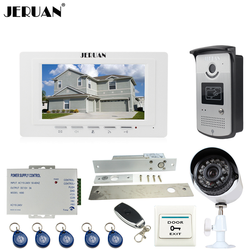 JERUAN white 7``Video Door Phone Intercom System kit RFID Access Camera+700TVL Analog Camera+remote control+E-lock+Exit button cute off the shoulder lemon dress for women