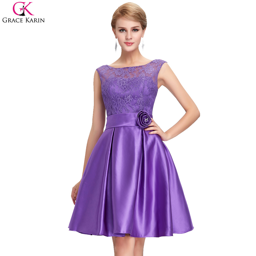 Grace Karin Short Prom Dresses Lace Appliques Sleeveless