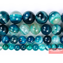 Natural Peacock Blue Zircon Stripe Agates Round Loose Beads 6 8 10 12MM Pick Size For Jewelry Making PZLB50 cheap Fashion Stone MOON BEADS Round Shape 10mm as photo Peacock Blue Zircon Stripe Agates Beads 4 6 8 10 12MM