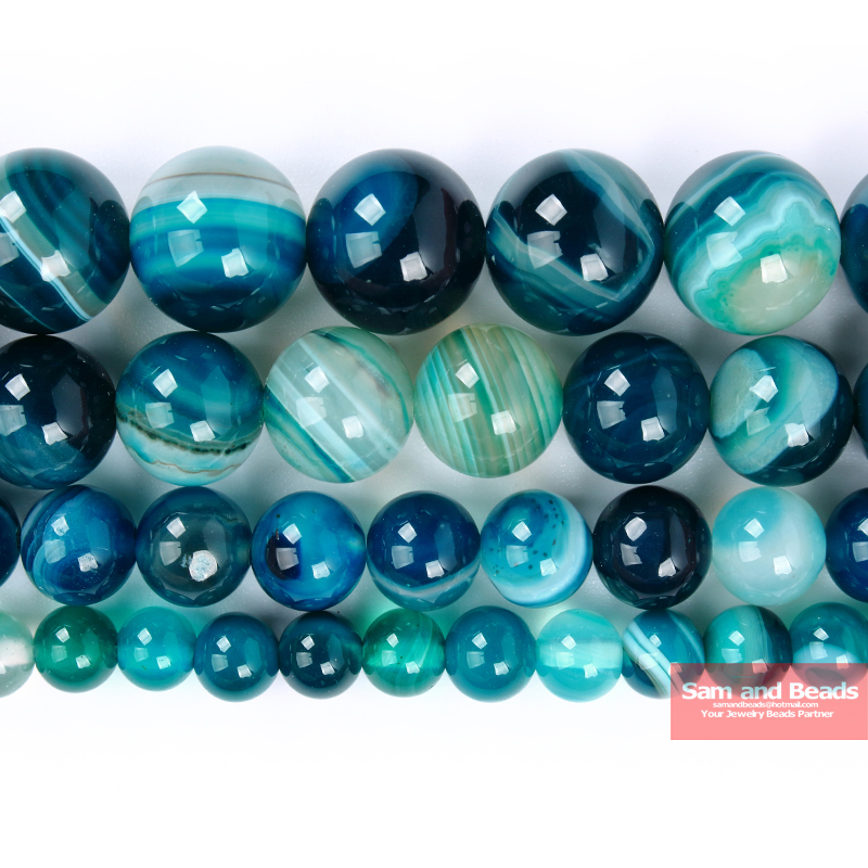 Natural Peacock Blue Zircon Stripe Agates Round Loose Beads 6 8 10 12MM Pick Size For Jewelry Making PZLB50(China)
