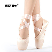 NANCY TINO Vaikų ir paauglių rožinės baleto Pointe šokių bateliai Ladies Professional su juostelėmis Satin Classics Children Women Woman Shoes