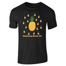 Printed Round T Shirt Cheap Price Crew Neck Men Casual Short Manhattan Beach Pineapples Tee Shirts men pocket patched round neck tee