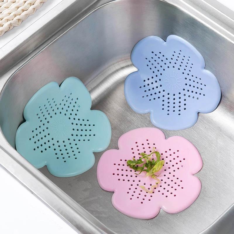 Sink Plug TPR Floor Drain Hair Stopper Sink Strainer Flower Shape Kitchen Drainer Filter Bathroom Shower Accessories 15.5*15.5cm
