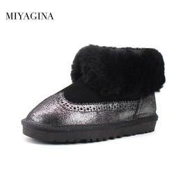 MIYAGINA Лидирующий бренд 2018 Новые детские зимние сапоги для маленьких мальчиков девушки дети из натуральной овечьей кожи на натуральном меху