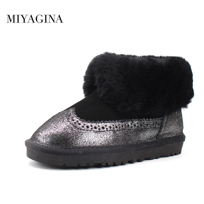 MIYAGINA Top Brand 2018 New Children Snow Boots For Baby Boys Girls Kids Genuine Sheepskin Leather Natural Fur Warm Winter ShoesMIYAGINA Top Brand 2018 New Children Snow Boots For Baby Boys Girls Kids Genuine Sheepskin Leather Natural Fur Warm Winter Shoes