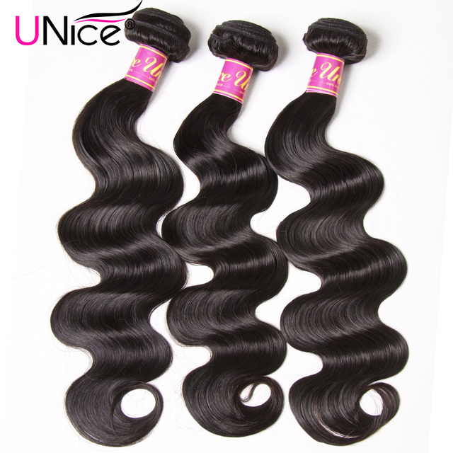 UNICE HAIR Brazilian Body Wave Hair Weave Bundles Natural Color 100% Human Hair weaving 1/3 Piece 8-30inch Remy Hair Extension