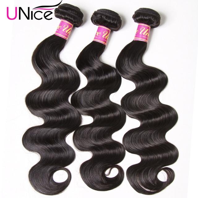 UNICE שיער ברזילאי גוף גל שיער Weave חבילות צבע טבעי 100% שיער טבעי אריגת 1/3 חתיכה 8-30 inch רמי הארכת שיער