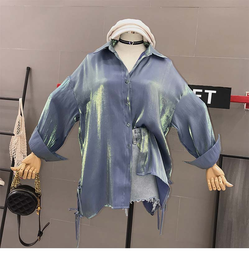 NiceMix High Quality Metallic Women Long Sleeve Blouse Shiny Sexy Buttons Silver Stylish Casual Shirt Club Daily eDressU