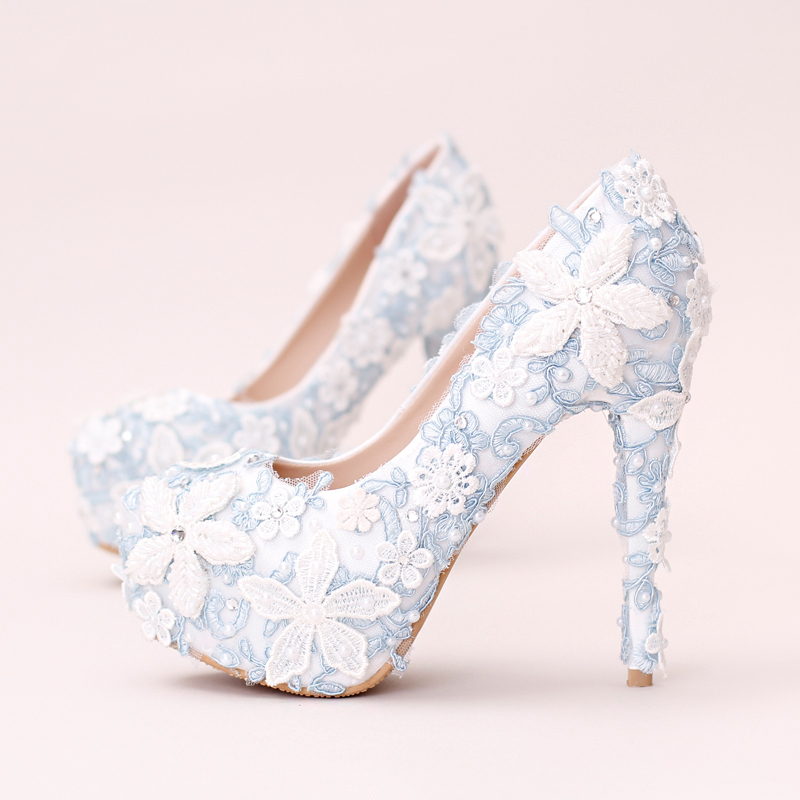 ФОТО 2017 most popular women wedding shoes lace flower and pearl decoration sky blue pattern make you charming and elegant