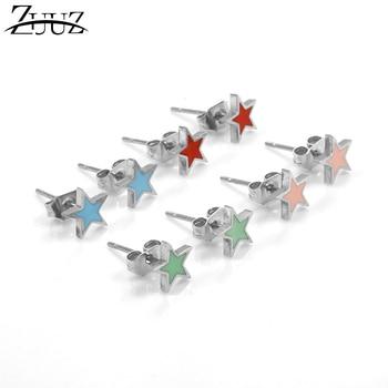 ZUUZ fashion stud earrings brincos 2018 accessories jewelry stainless steel earing for women  female korean kpop heart