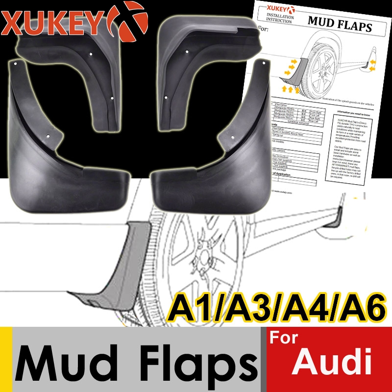 Genuine XUKEY Car Mud Flaps For Audi A3 A4 A6 (8E 8P B6 B7 C6) Mudflaps Splash Guards Mud Flap Mudguards Fender Car Accessories-in Mudguards from Automobiles & Motorcycles