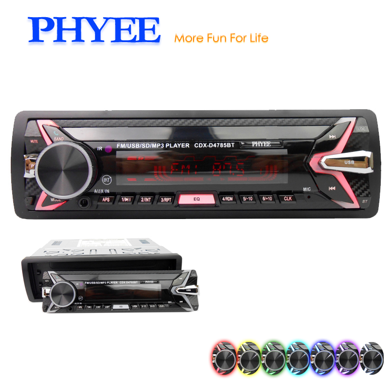 Detachable Car Radio Bluetooth Autoradio USB 1 Din Stereo Audio MP3 SD FM Tuner High Power Head Unit PHYEE 4785BT