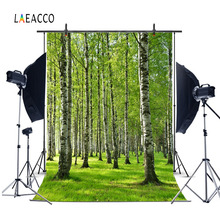 Laeacco Spring Green Forest Trees Grassland Scenery Photography Backgrounds Customized Photographic Backdrops For Photo Studio