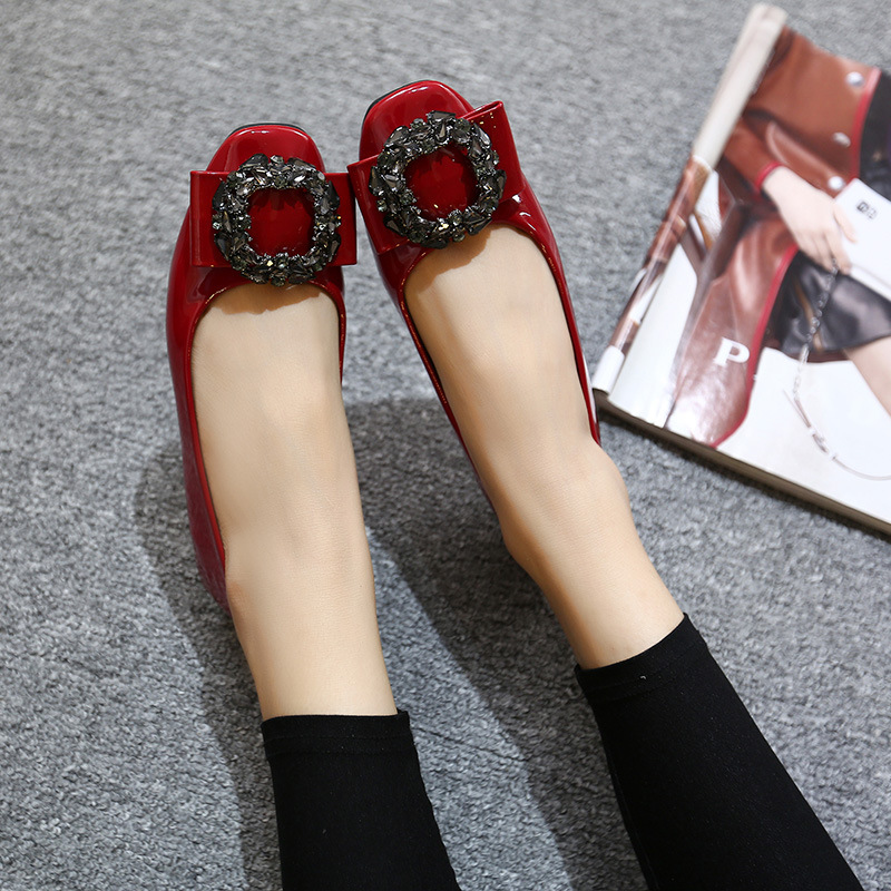 ФОТО Fall 2017 new flats Square flat shoes Diamond square patent leather shoes with flat shoes