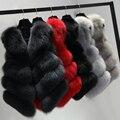 Curta Real Fox Fur Vest Mulheres Inverno Natural Azul Raposa Casaco De Pele Casaco De Pele Gilet Colete 4 Tiras