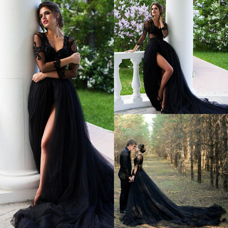 Rustic Country Black Gothic Wedding Dresses V Neck Illusion Top