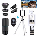 10in1 Phone Lentes Kit Wide Angle Macro Fisheye Lenses+Tripod Holde+Telescope 8X Zoom Telephoto Lens For iPhone 6 S 7 Xiaomi HTC