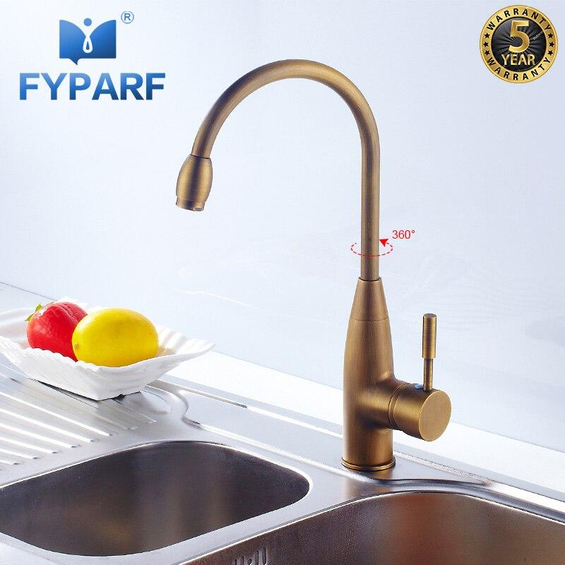 FYPARF laiton Antique robinet de cuisine mélangeur poignée unique trou chaud froid 360 degrés robinet d'eau cuisine évier robinet grue pour cuisine