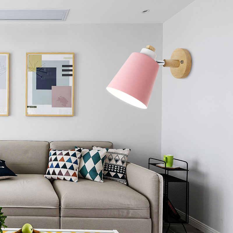 Деревянный настенный светильник прикроватный Настенный светильник Настенный Современный Бра настенный светильник для спальни скандинавский Макарон 6 цветов рулевая колонка E27 85-285 V
