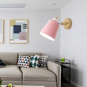 Image 3 - Lámpara de pared de madera para cabecera aplique de pared moderno para dormitorio, nórdico, macarrón, 6 colores, E27 85 285V