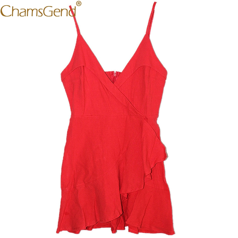 Red Deep V Ruffle Mini Summer Dress for Women Lady Sexy Solid Sleeveless Backless Strappy Party Mini Dresses 90123