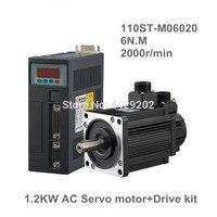 110ST M06020 220V 1200W AC Servo motor 1.2KW 2000RPM 6N.M. servomotor Single Phase ac drive permanent magnet Matched Driver