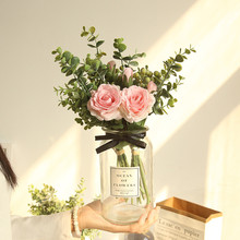 Artificial flower INS Mida Eucalyptus rose bouquet home decoration wedding wall fake flowers