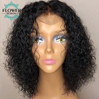 Curly 13x6 Lace Front Human Hair Wigs Preplucked With Baby Hair Brazilian Remy Hair Wig Natural Color 130 Density Flowerseason