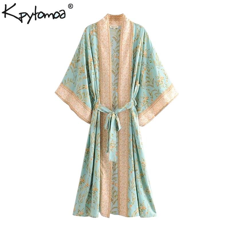 Boho Chic été Vintage imprimé Floral Kimono femmes 2019 Cardigan de mode avec des ceintures Blouses de plage chemises Blusas Mujer