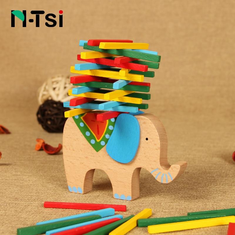 N-Tsi Classic Wooden Sticks Elephant Balance Block Parent Kids Educational Toys for Children Stack Game Birthday Christmas Gift