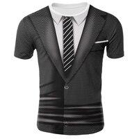 Футболки с 3D принтом костюм с имитацией галстука футболка с коротким рукавом для мужчин/мальчиков забавная футболка с круглым вырезом улич...