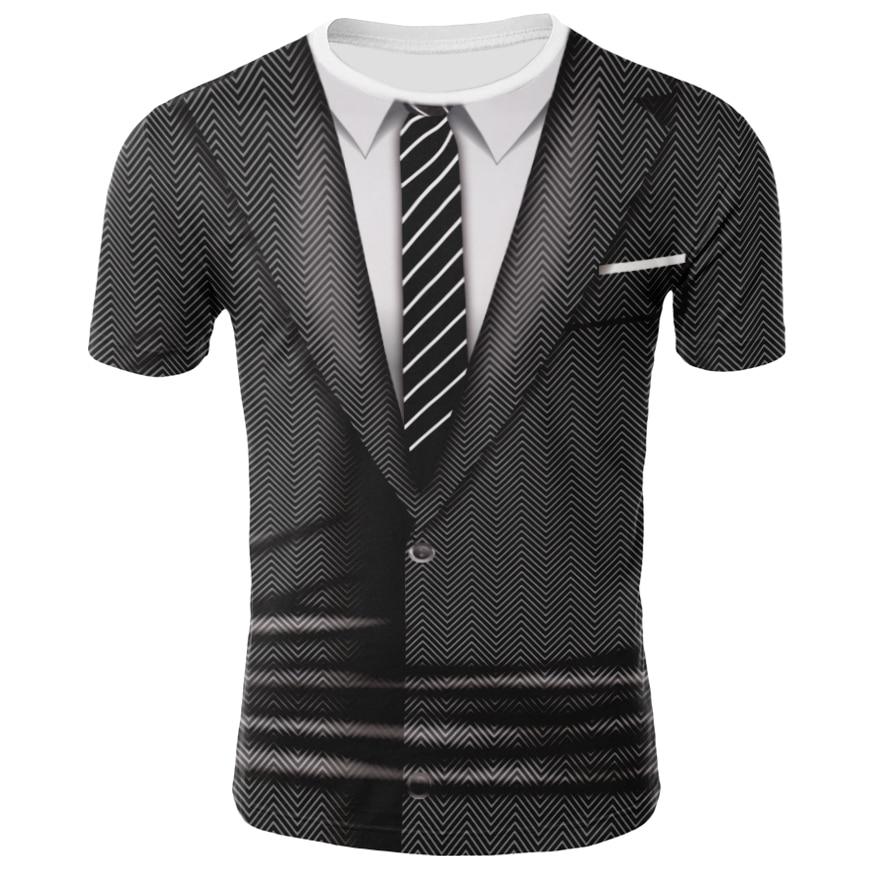 3D Printed Tee Shirts Fake Suit Tie T-shirt Short Sleeve Men/boy Funny Tshirt O-neck Tees Shirt Hip Hop Streetwear Black S-4XL