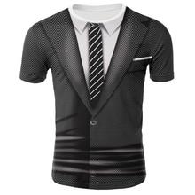 3D Printed Tee Shirts Fake Suit Tie T-shirt Short Sleeve Men/boy Funny Tshirt O-