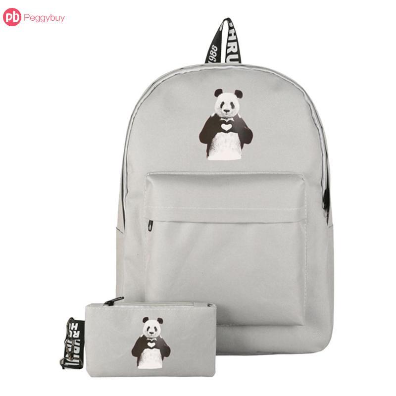 2Pcs 3 Colors Cute Panda Printed Backpacks Women Casual Travel Shoulder Schoolbags Preppy Style Clutch Rucksack Mochila Feminina