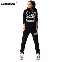 2015 Woman Tracksuit Clothing Hoodies Set Letter Print Sport Suit Women 2 Piece Set Sports Costumes