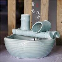 Изысканный чайник из бамбуковой белой керамики, водопроводный фонтан увлажнитель, аквариум для гостиной, водопроводная особенность Knick Knacks