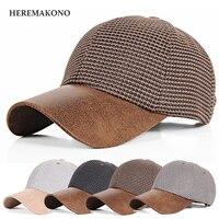 新しいブランドheremakono亜麻夏野球帽子短いつばバイザー秋ファッションシェード帽子男