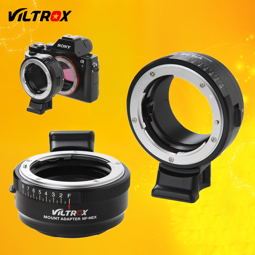 Viltrox NF-NEX Lens Adapter w/ Tripod Mount Aperture Ring for Nikon F AF-S AI G Lens to Sony E Camera A9 A7SII A7RII NEX 7 A6500