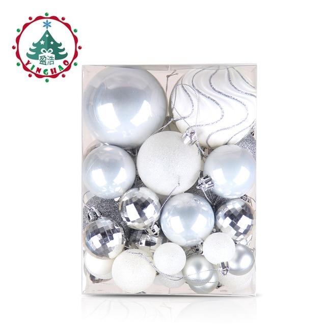inhoo 50pcs Silver White Balls Christmas Decorations for home Christmas Tree Decor Craft Ball Ornaments Pendant Xmas Gifts 2019