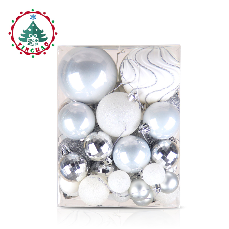 inhoo 50pcs Silver White Balls Christmas Decorations for home Christmas Tree Decor Craft Ball Ornaments Pendant Xmas Gifts 2019