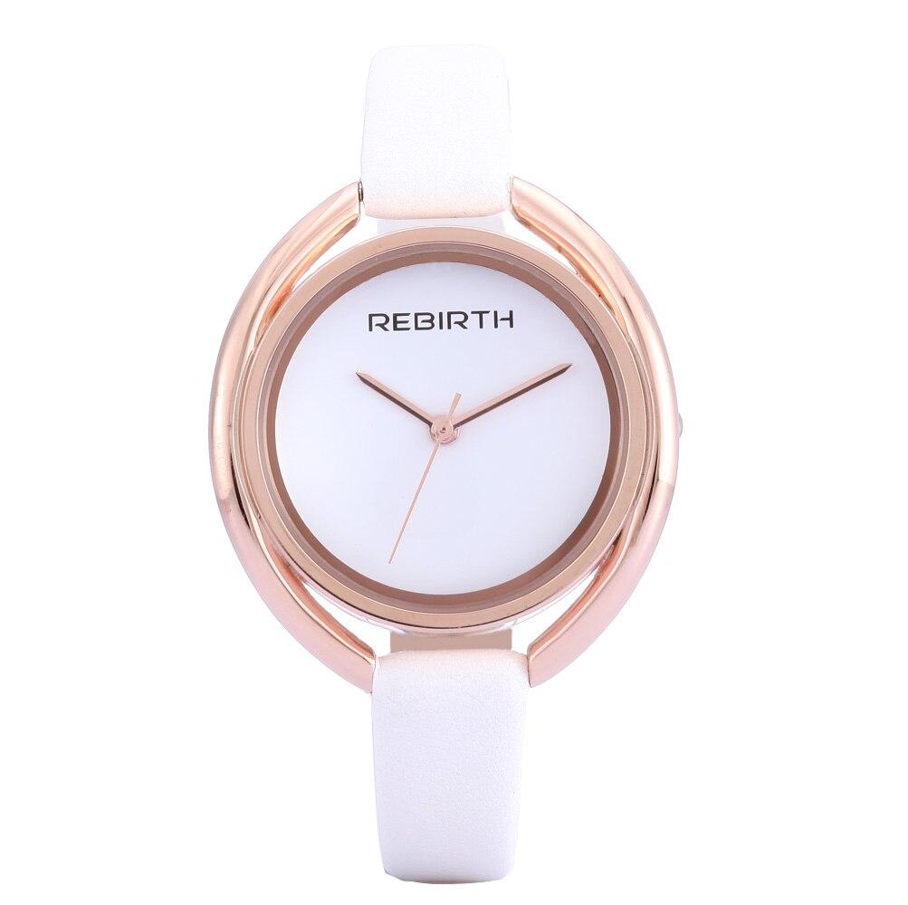 새로운 REBIRTH 브랜드 패션 캐주얼 드레스 여성 시계 럭셔리 디자인 여자 시계 여성 단순 얇은 군사 석영 손목 시계
