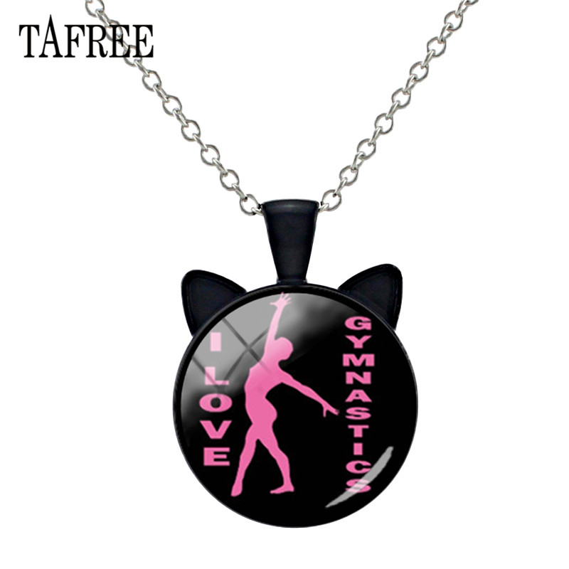 TAFREE I Love Gymnastics Animal Ear Necklace Pendant Glass Cabochon Charms Alloy Metal Choker Collar For Fitness lover Ns558